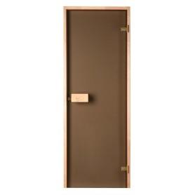 Bastudörrar storlek 8x21   Bastudörr 8x21 Classic med bronsfärgat glas och furukarm